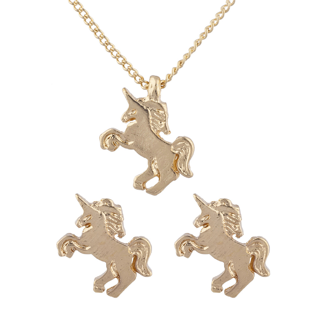 Lux Accessories Gold Tone MagicalUnicorn Pendant Necklace Stud Earring Set XJRmArm