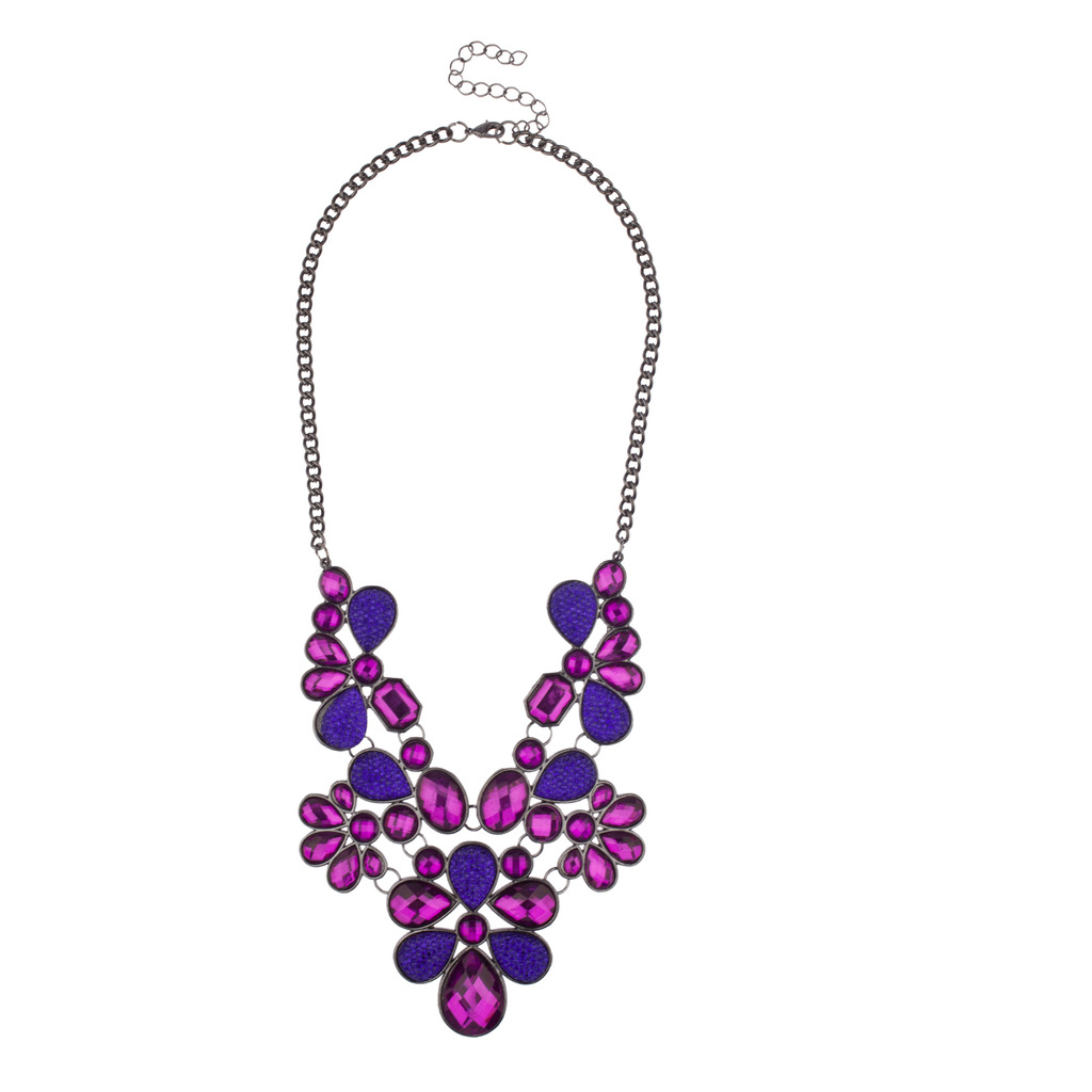 stone chain leather purple natural product tomtosh crystal necklace hexagonal fluorescent pendant