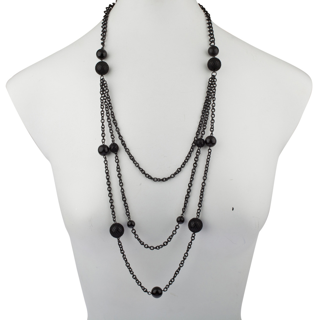 Mulit Layered Chain Black Beaded Necklace Earrings Set