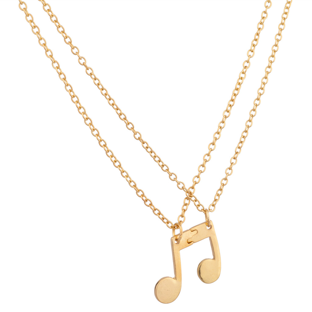Eighth Note Music Symbol Bff Best Friends Forever Necklace Set 2 Pc