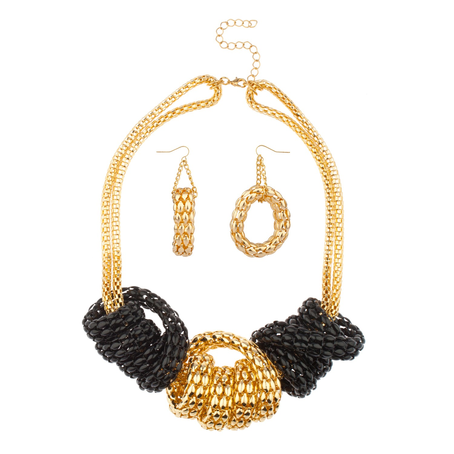 Black Chunky Chain Link Knot Necklace Matching Earrings ...