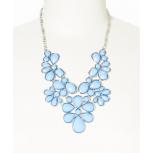 Light Blue Faceted Flower Bib Necklace