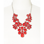Red Faceted Flower Bib Necklace