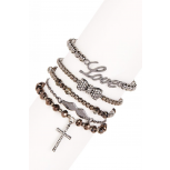 Cross, Bow, Love & Wings Charm Bracelet Set