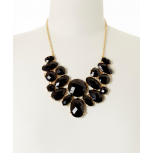 Black Faceted Oval Bib Necklace