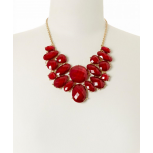 Red Faceted Oval Bib Necklace