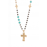 Turquoise-Tone Bead Rosary Charm Necklace