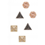 Flower, Spike & Pyramid Earrings Set