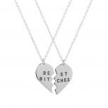 Best Friends BFF Best Bitches Heart Pendant Necklaces (2 PC)