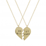 Best Friends BFF Best Bitches Heart Pendant Necklaces (2 PC)