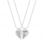 Best Friends BFF Bitches For Life Heart Pendant Necklaces (2 PC)