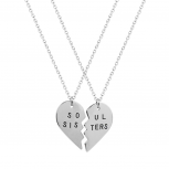 Best Friends BFF Soul Sisters Heart Necklaces (2 PC)