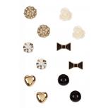 Heart, Flower & Bow Stud Earrings Set