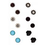 Flower & Stone Stud Earrings Set