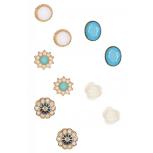 Flower & Resin Stone Earring Set