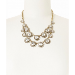 Gold & Crystal Tiered Circle Bib Necklace