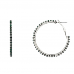 Star Studded Embellisted Hoop Earrings Emerald Green