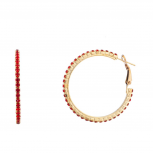 Star Studded Embellisted Holiday Hoop Earrings Red