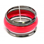 Red Etched Multi Bangle Set (6 PC)
