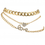 Goldtone Love Heart Curb Chain Anklet Ankle Bracelet Set 3PCS