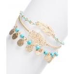 Goldtone & Turquoise Hamsa Metal Leaf Evil Eye Bracelet Set