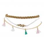 Gold Tone Boho Hippie Bright Tassel Feather Anklet Set 3PCS