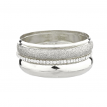 Glitter Rhinestone Glam Textured Metal Bangle Set (5 PC)