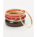 Coral & Gold Bangle Set
