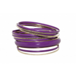 Purple Enamel Textured Multi Bangle Set