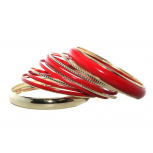 Red Enamel Multi Bangle Set (13 PC)