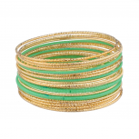 Lime Green Diamond Cut Metal Bangle Set