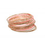 Pink Diamond Cut Textured Metal Bangle Set