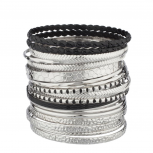 Textured Black Bangle Set (16 PC)