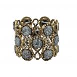 Burnish Pave Goldtone Grey Caviar Glitter Stone Boho Glitz Stretch Bracelet