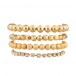 Bead Stone Stretch Arm Candy Bracelet Set (4 PC)