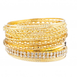 Pave Braided Mesh Multi Bangle Set
