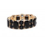Black Stone Geometric Cirlce Rectangle Stretch Bracelet