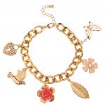 Dove Pave Heart Lock Flower Rose Bird Butterfly Leaf Floral Charm Bracelet