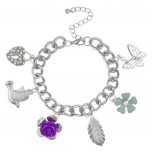 Dove Pave Heart Lock Flower Rose Bird Butterfly Leaf Floral Charm Bracelet.