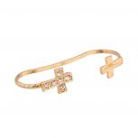 Open Ended Rhinestone Pave Cross Cuff Bracelet
