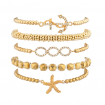 Nautical Starfish Anchor Beaded Arm Candy Friendship Bracelet Set