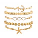 Nautical Starfish Anchor Beaded Arm Candy Friendship Bracelet Set