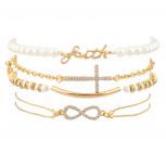 Faith Pave Cross Bar Infinity Arm Candy Faux Pearl Bracelet Set