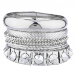 Silver Tone Assorted Textured Smooth Bangle Bracelet Set 10PC