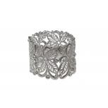 Flower Floral Leaf Crystal Rhinestone Stretch Bracelet