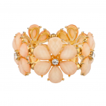 Peach Floral Rhinestone Flower Light Pink Stretch Bracelet