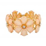 Peach Floral Rhinestone Flower Light Pink Stretch Bracelet