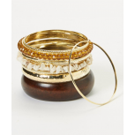Amber & Gold Bangle Set