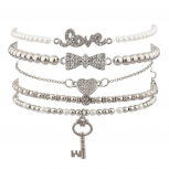 Key To Unlock My Heart Pave Box LOVE Beaded Faux Pearl Arm Candy Bracelet Set.