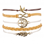 Dove Infinity Leaf Tree of Life Arm Candy Bracelet Set Woven
